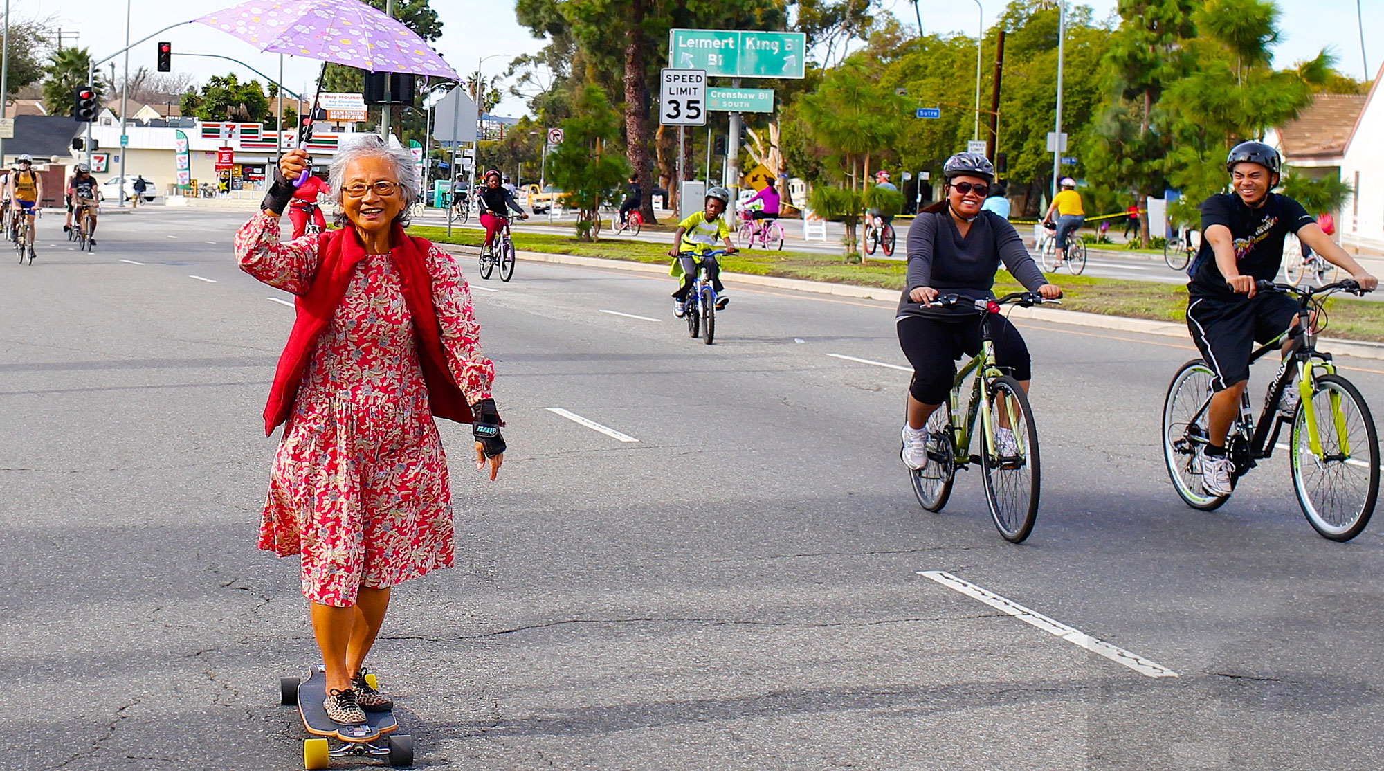 Open Streets- Lady on Skateboard
