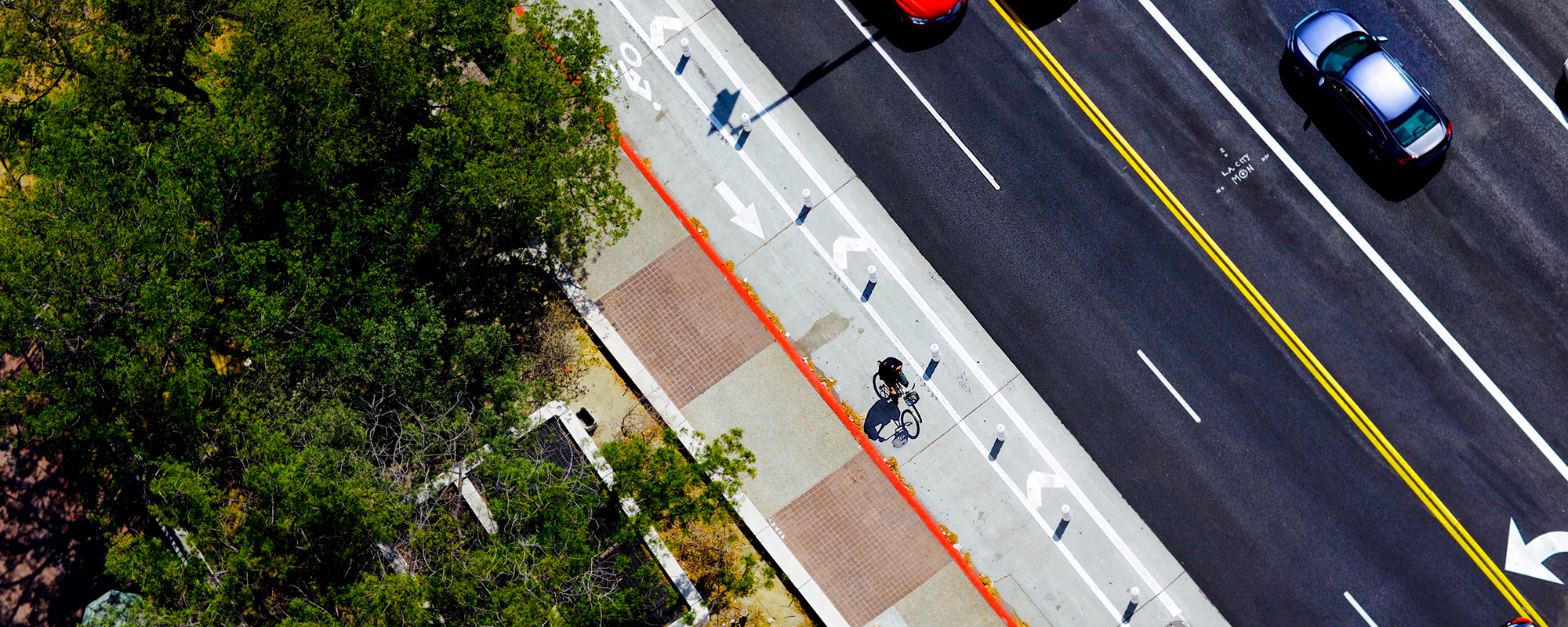 aerial view of protected bike lane