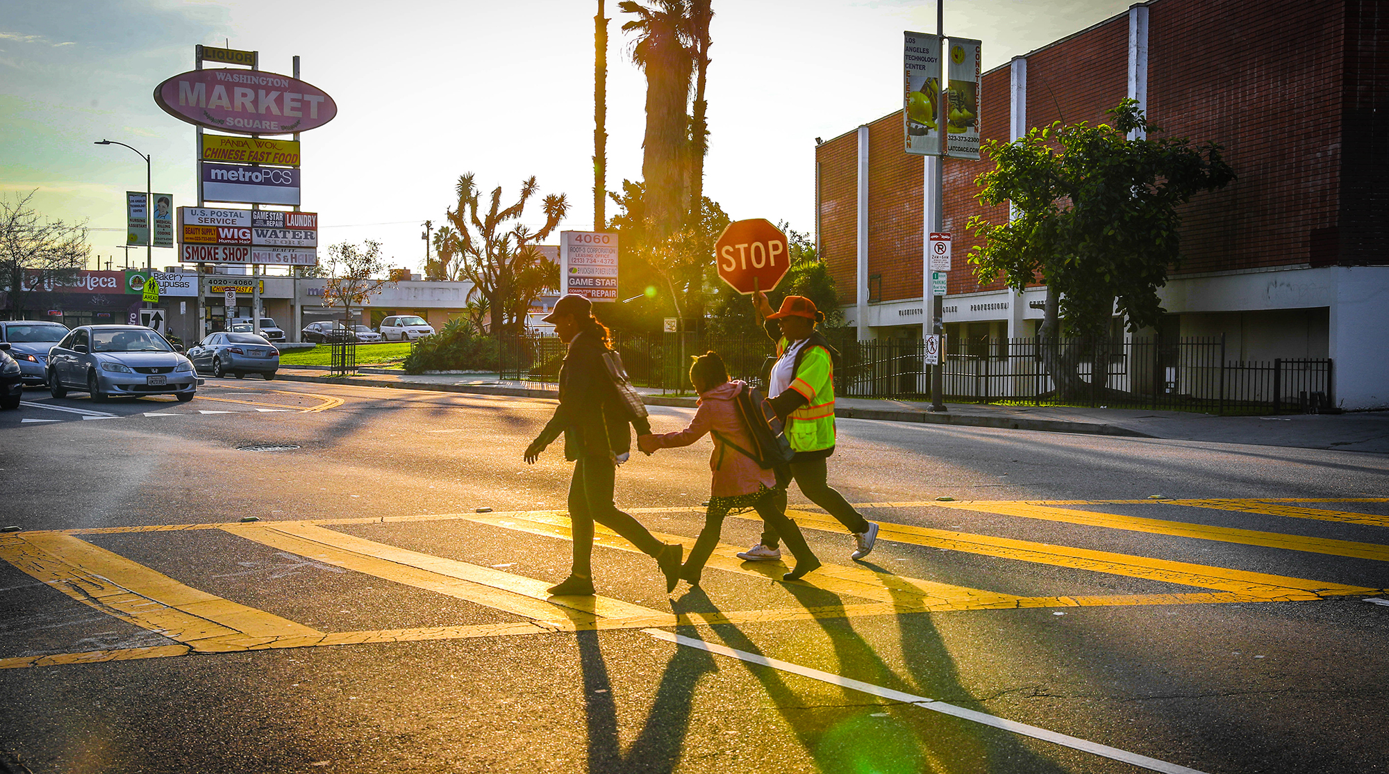 crossing guard with kids
