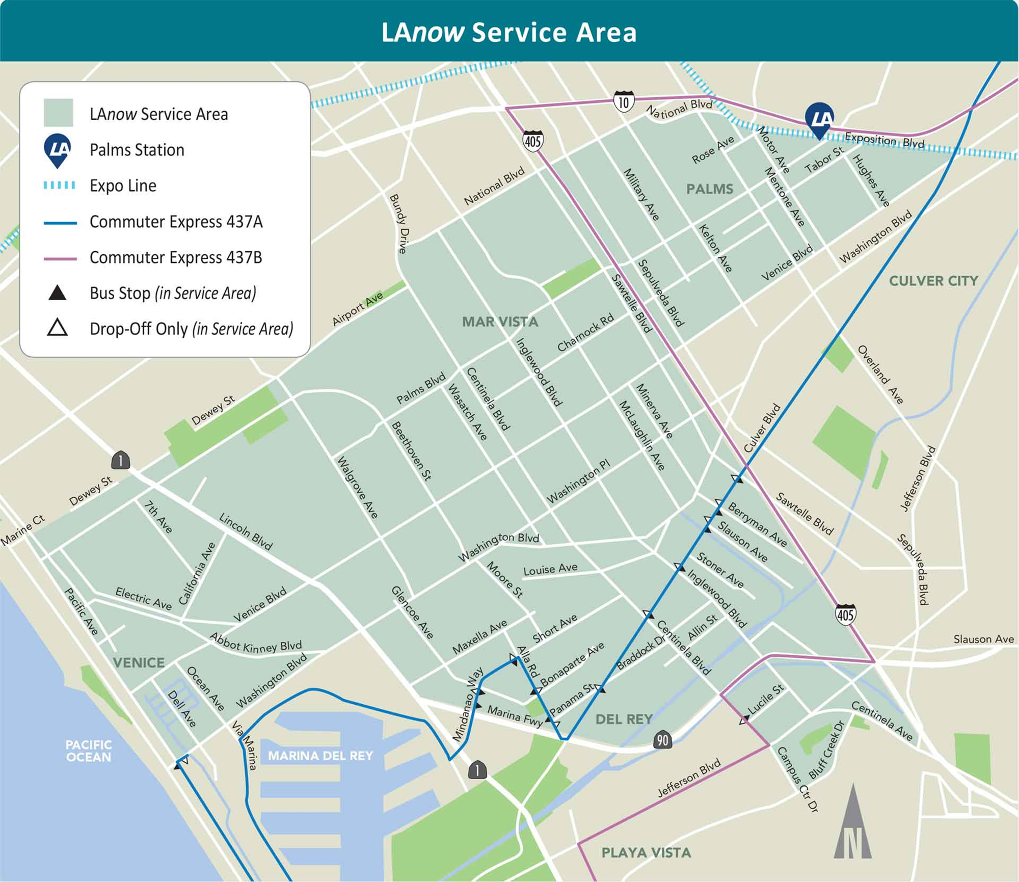 LaNow Services Areas map